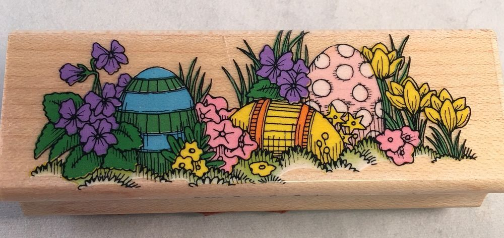 Easter Egg Garden F363 Hero Arts Rubber Stamp Crafts Greeting Card Making EUC  | eBay