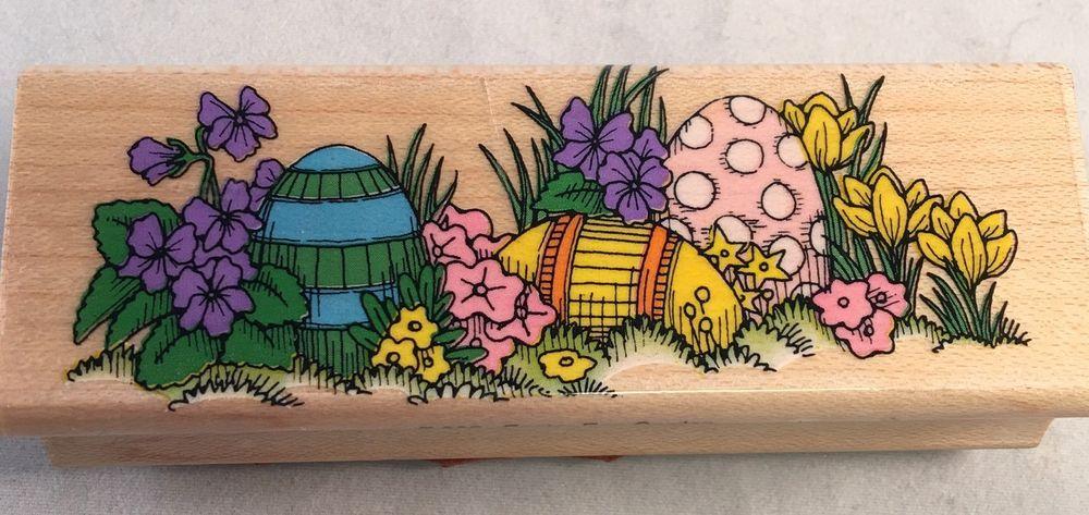 Easter Egg Garden F363 Hero Arts Rubber Stamp Crafts Greeting Card Making EUC  | eBay