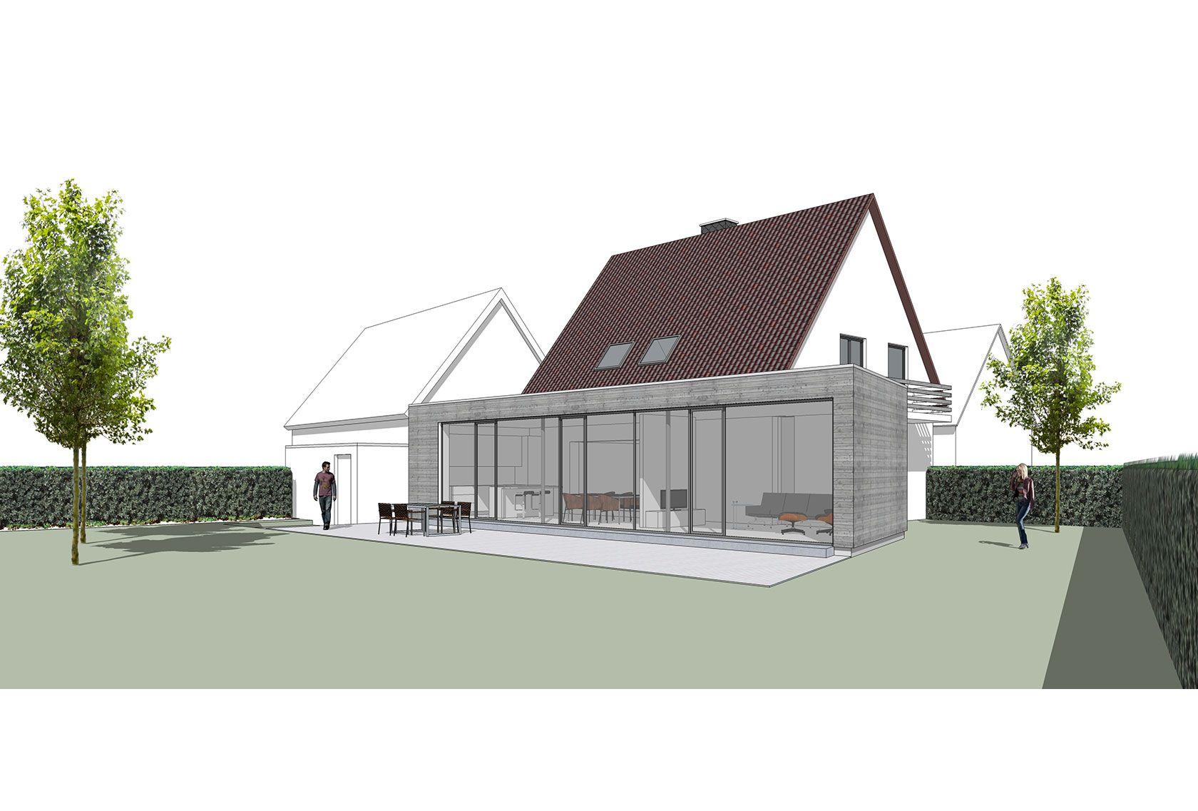 Moderner Anbau, 60er Jahre Haus, Holzrahmenbau, Rheda-Wiedenbrück ...
