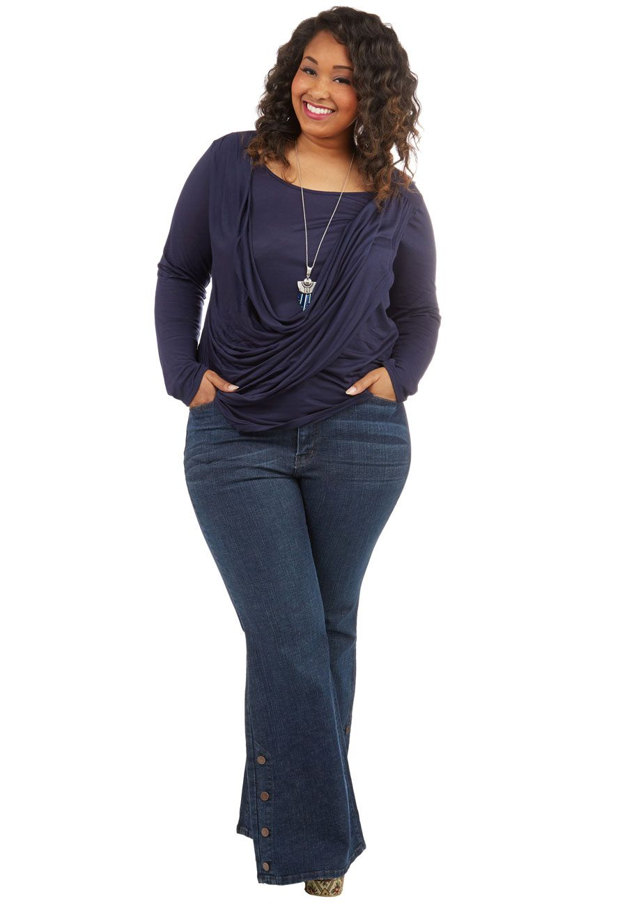 4365258adfb47 Faster and Fastener Jeans in Plus Size. Get ready in a snap by styling  these flared blue jeans!  blue  modcloth