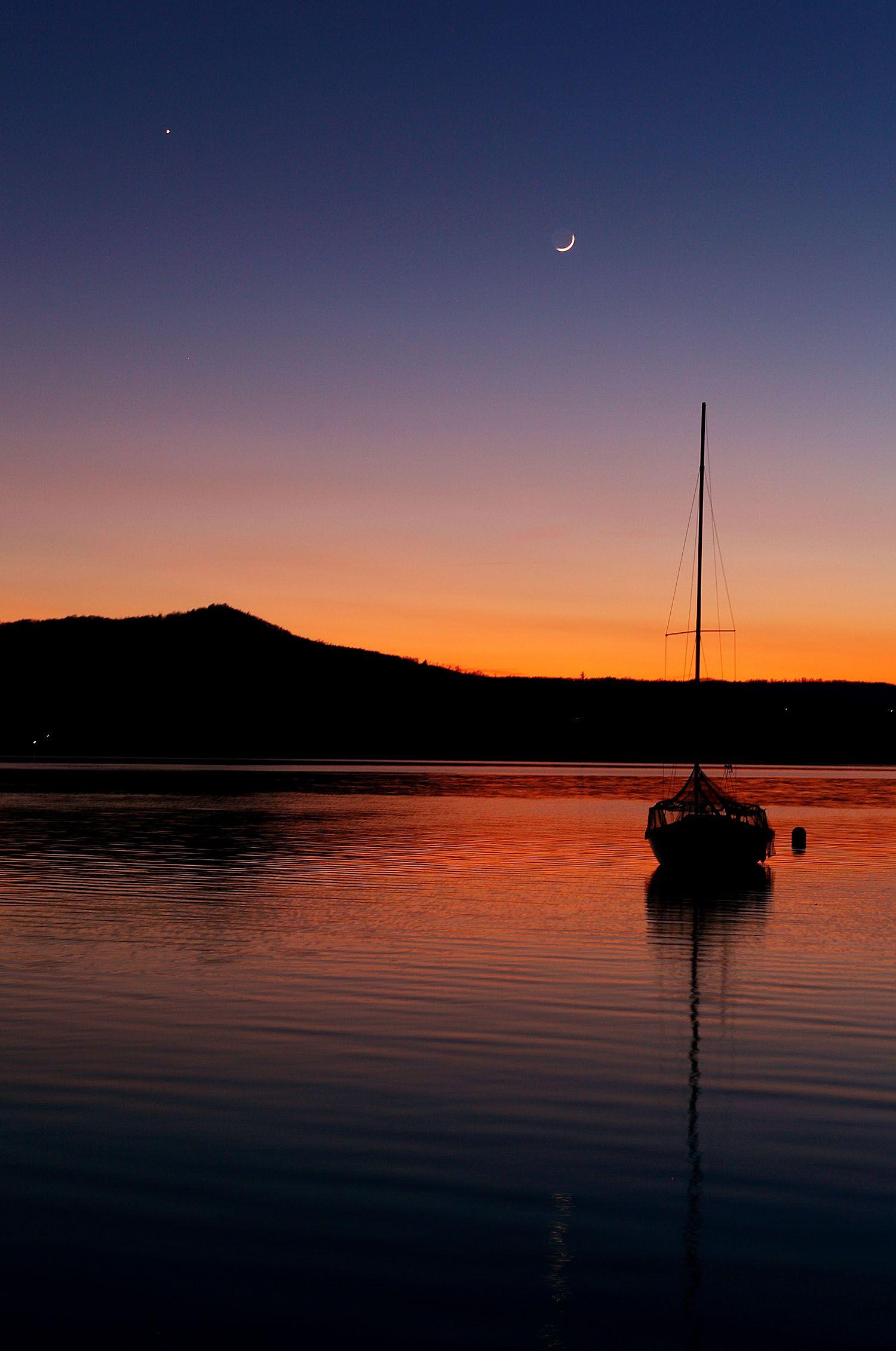 Serene Sunset Images Sunset Beautiful Sunset Moon boat sunset sail evening lake