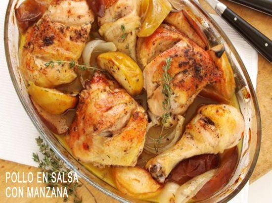 Pollo al Horno con Rebanadas de Manzana