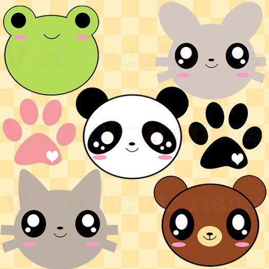 Animal Clipart Cute Clipart Zoo Clipart Kawaii Animals Panda Cat Frog Bear Chibi Fun Paw Print Free Commercial And Personal Use