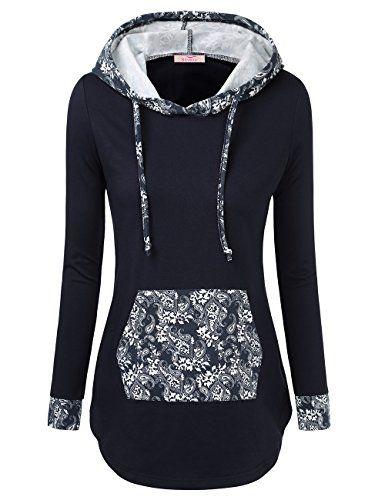 Slivexy Femme Sweat-shirt a Capuche Tunique Modele Classique Poche Kangourou