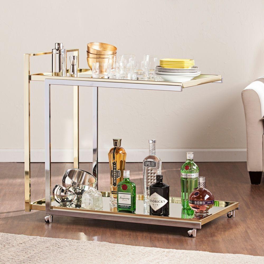 Riata Metallic Silver And Gold Bar Cart Style 39h18