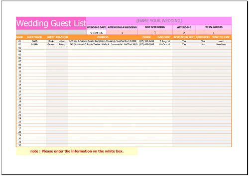 Free Wedding Guest List Template  Checklist Template