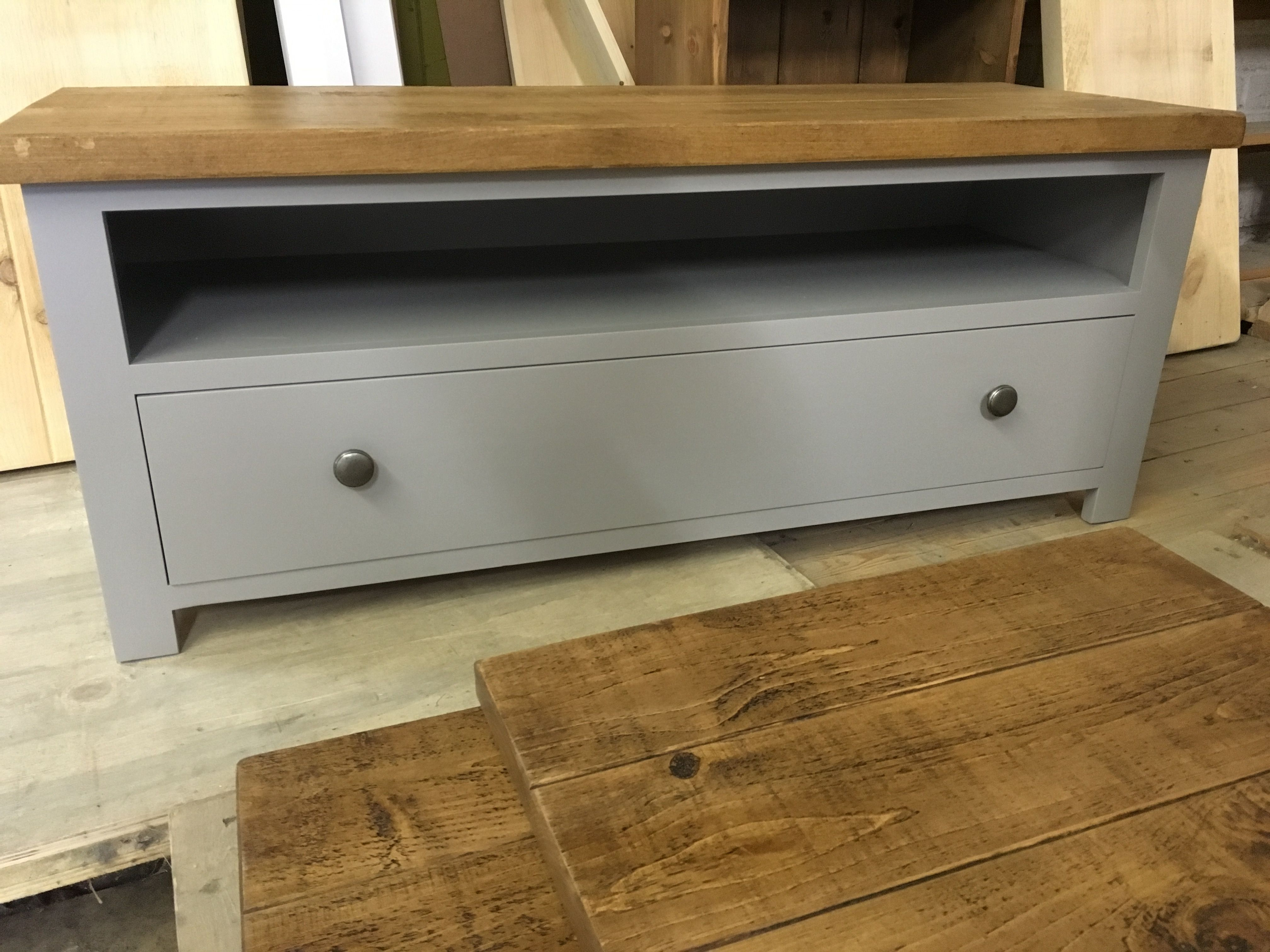TV Unit In Fu0026B Worsted With A Rustic Plank Top And Pewter Knobs. Cobwebs  Furniture