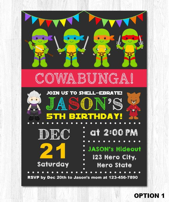 Ninja Turtle Invitation Tmnt Invitation Teenage Por