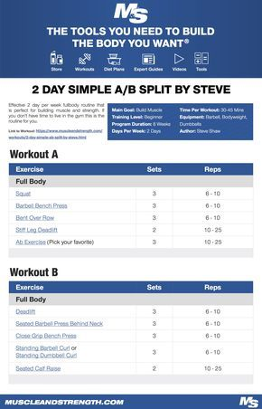2 Day Simple A B Split By Steve Beginner Leg Workout Push Pull Workout Traps Workout