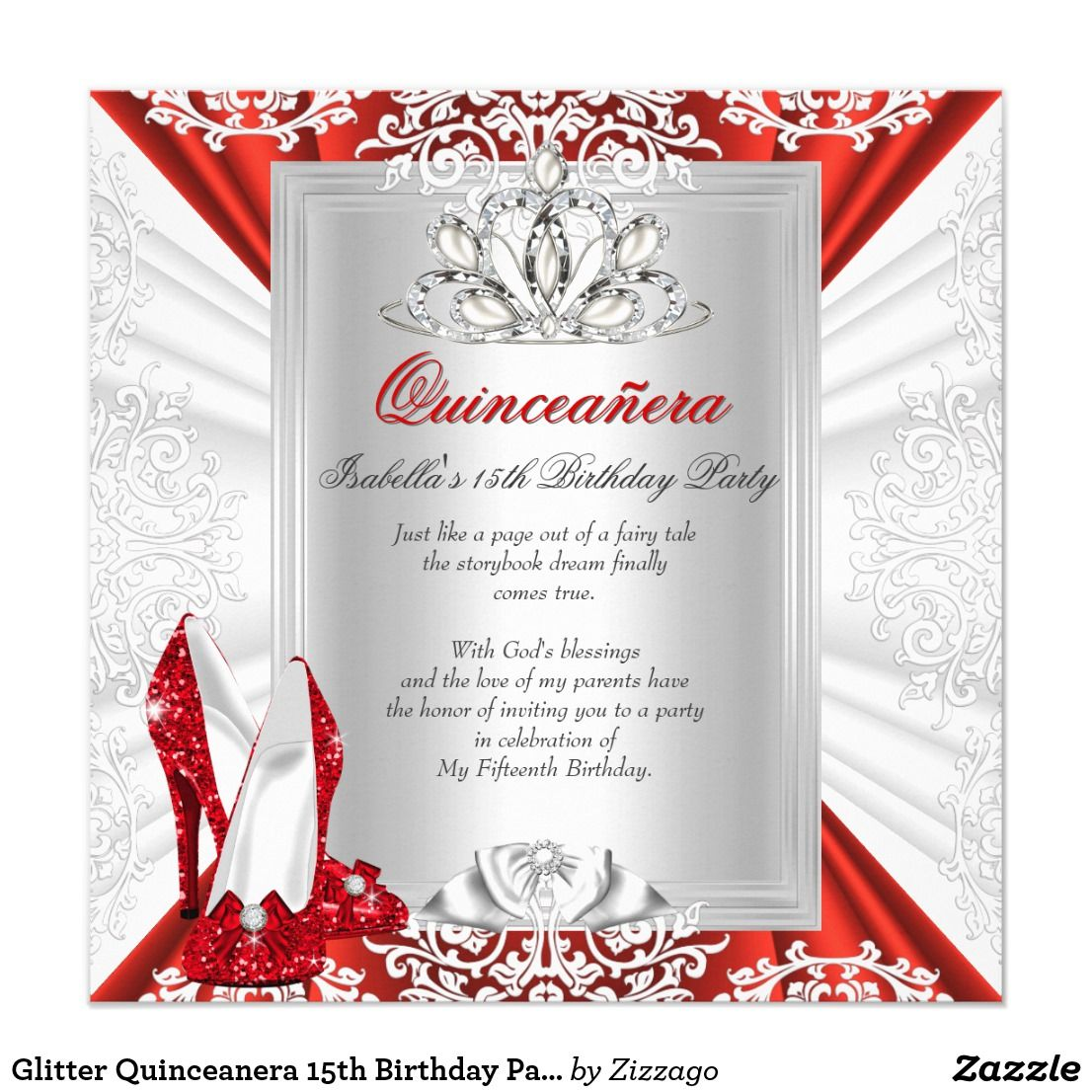 Glitter Quinceanera 15th Birthday Party Red Heels | Invitations ...