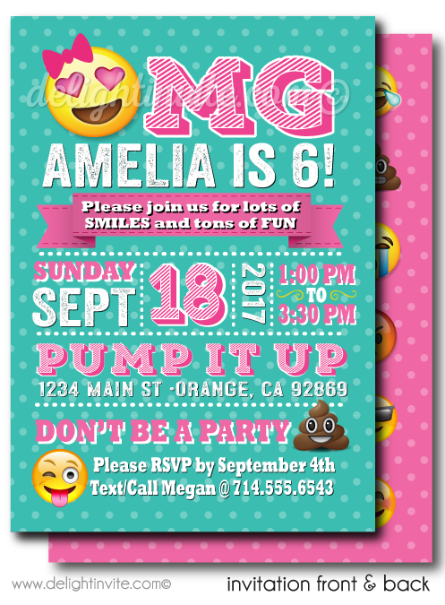 omg emoji birthday party invitations click image to close