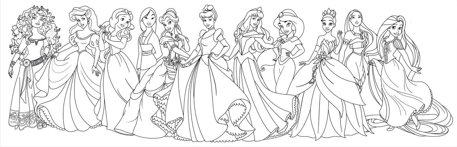 Merida Ariel Snow White Mulan Belle Cinderella Aurora Jasmine Tiana Pocahonta Disney Princess Coloring Pages Disney Princess Colors Princess Coloring