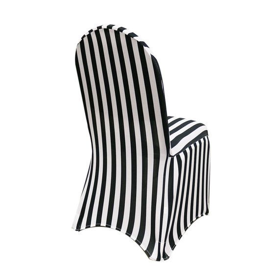 Spandex Chair Cover Black And White Striped By Yourchaircovers Black And White Chair Banquet Chair Covers Black