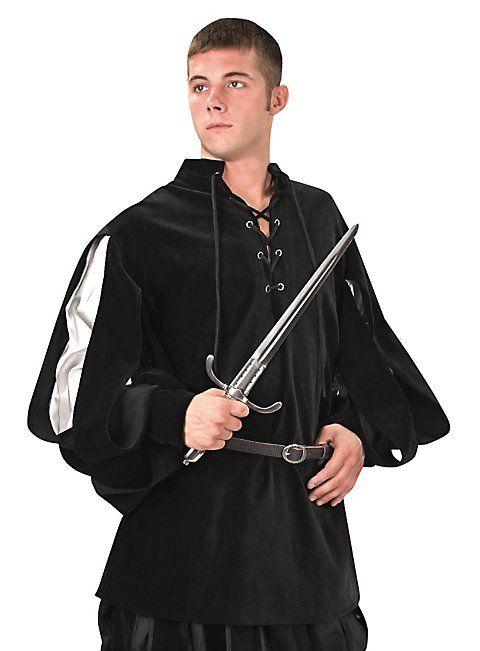 Hemd mit geschlitzten Ärmeln Armand schwarzsilber
