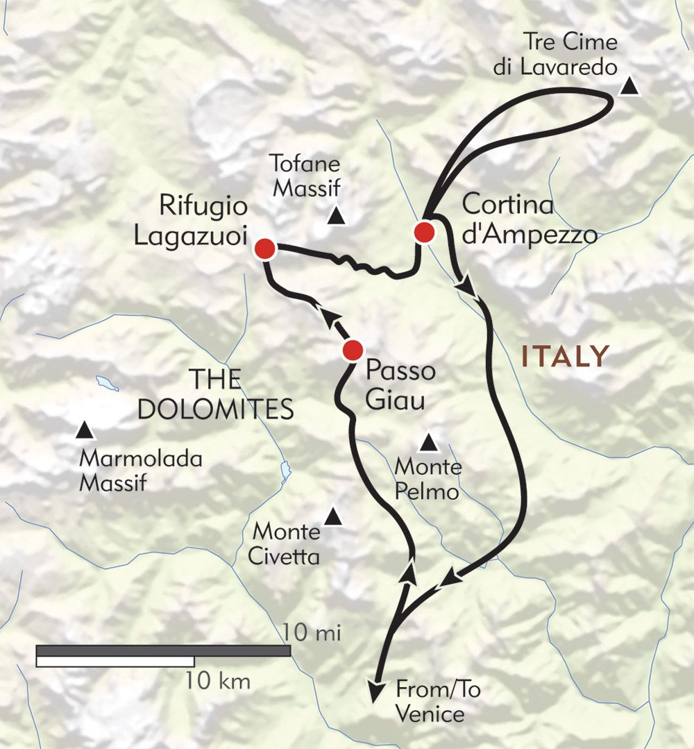 Hiking in the Cortina Dolomites routemap Europe Some Day