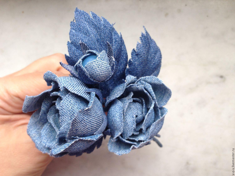 Джинсовые цветы своими руками фото 33