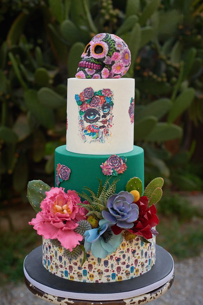 42 Exciting   Colourful Mexican Wedding Cake Ideas   Party   Dia de     Exciting And Colourful Mexican Wedding Cake Ideas        See more   http   www weddingforward com mexican wedding cake ideas   weddingforward   bride  bridal