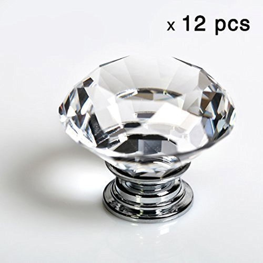 12pcs Diamond Shape Crystal Glass 30mm Drawer Knob Pull Handle Usd