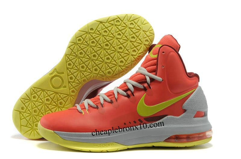 Pas cher Nike Zoom KD V Rouge Gris Jaune Chaussures Hommes