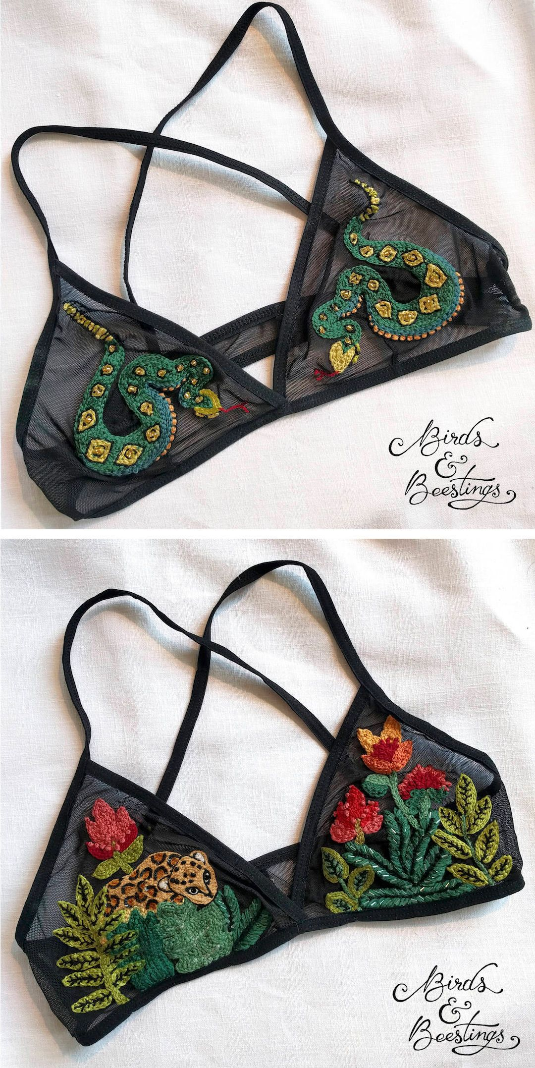 8ad37bb278782 Embroidered bralettes by Birds   Beestings    bespoke bras    bespoke  fashion    hand embroidery