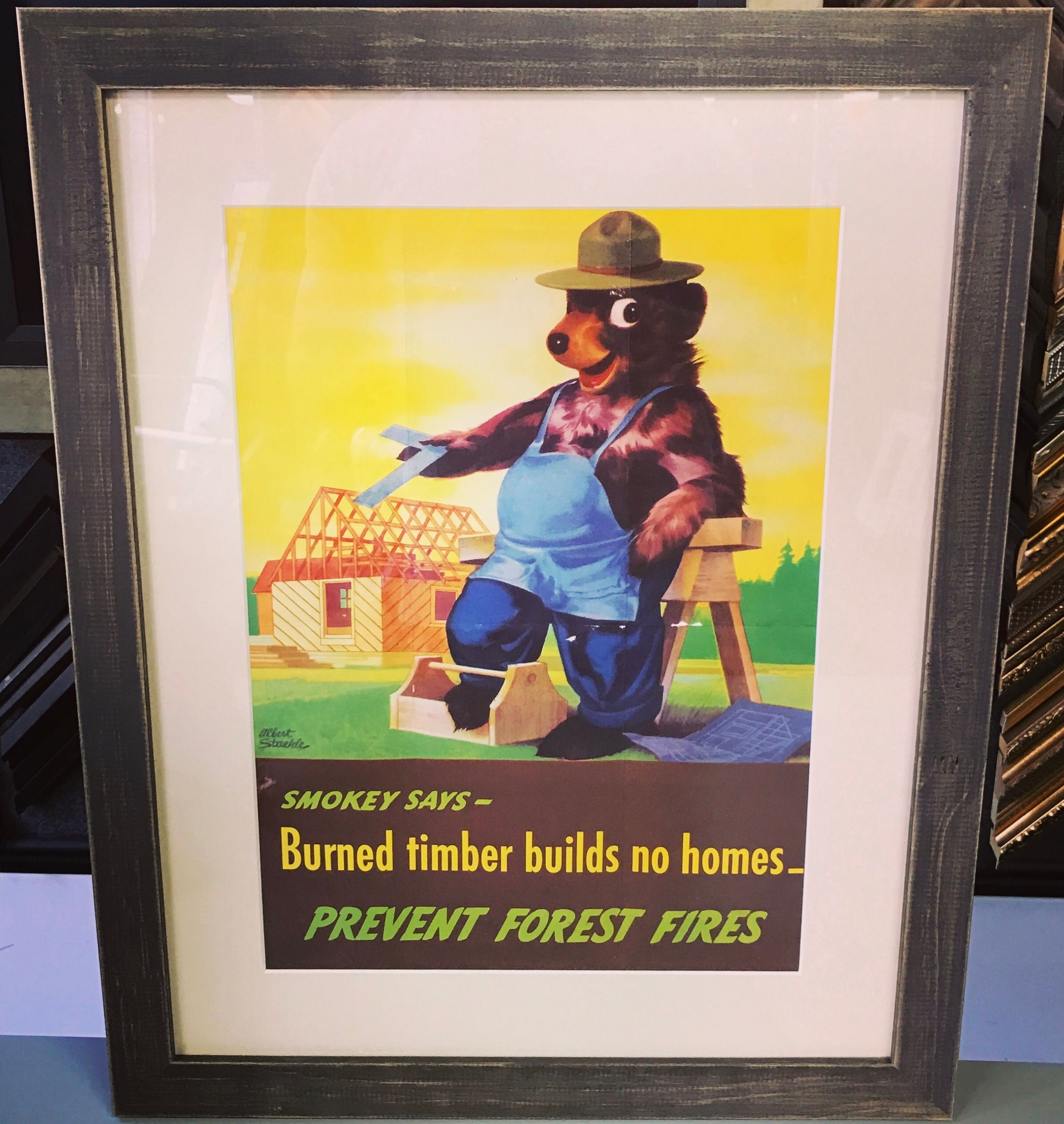 Vintage Smokey The Bear Ad Custom Framed With Universal Arquati S Country Colors Art Pictureframing Cus Framing Photography Smokey The Bears Custom Framing