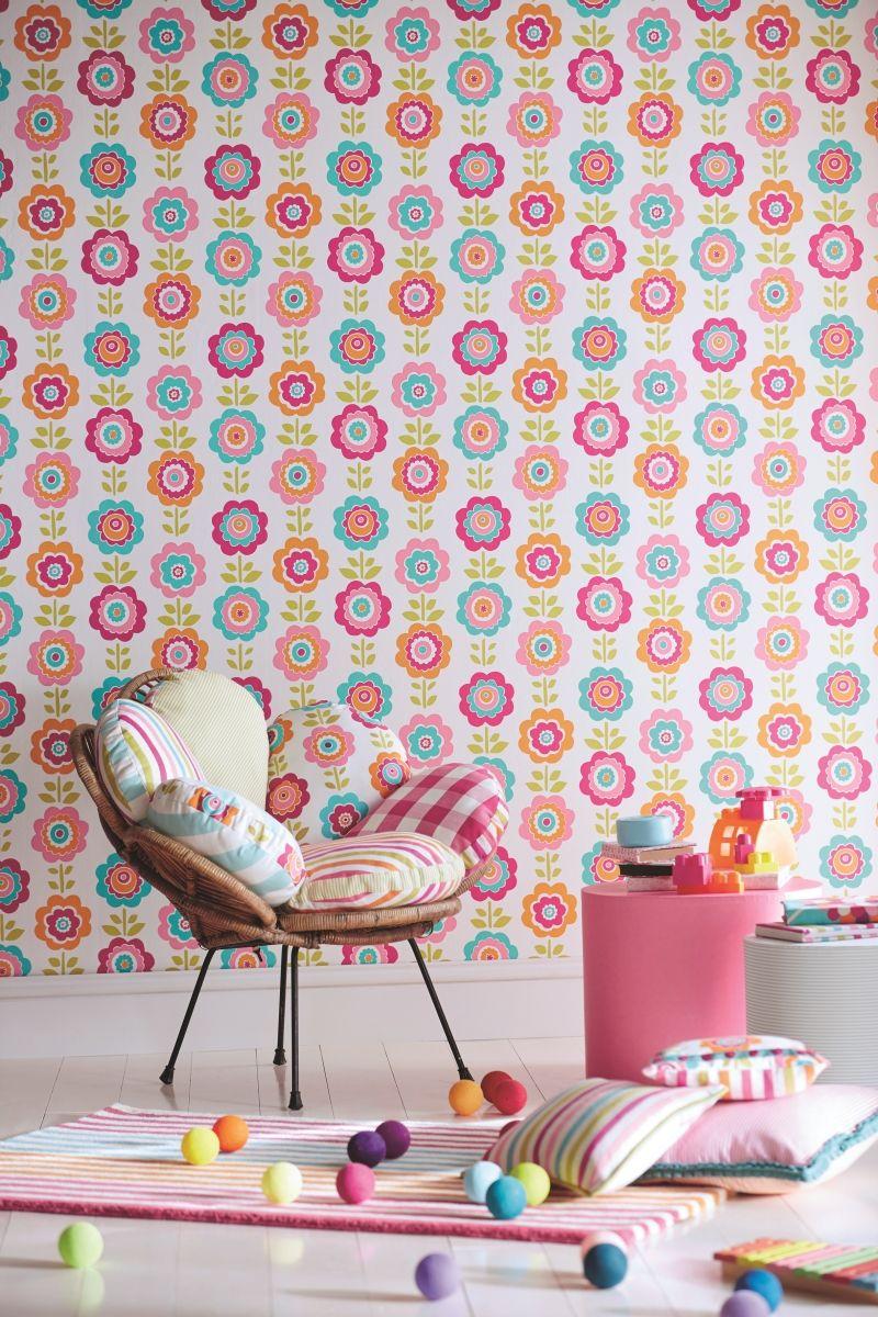 Tapete Maxi-Blumen pink/orange/türkis \'All about me\' | Kindertapeten ...