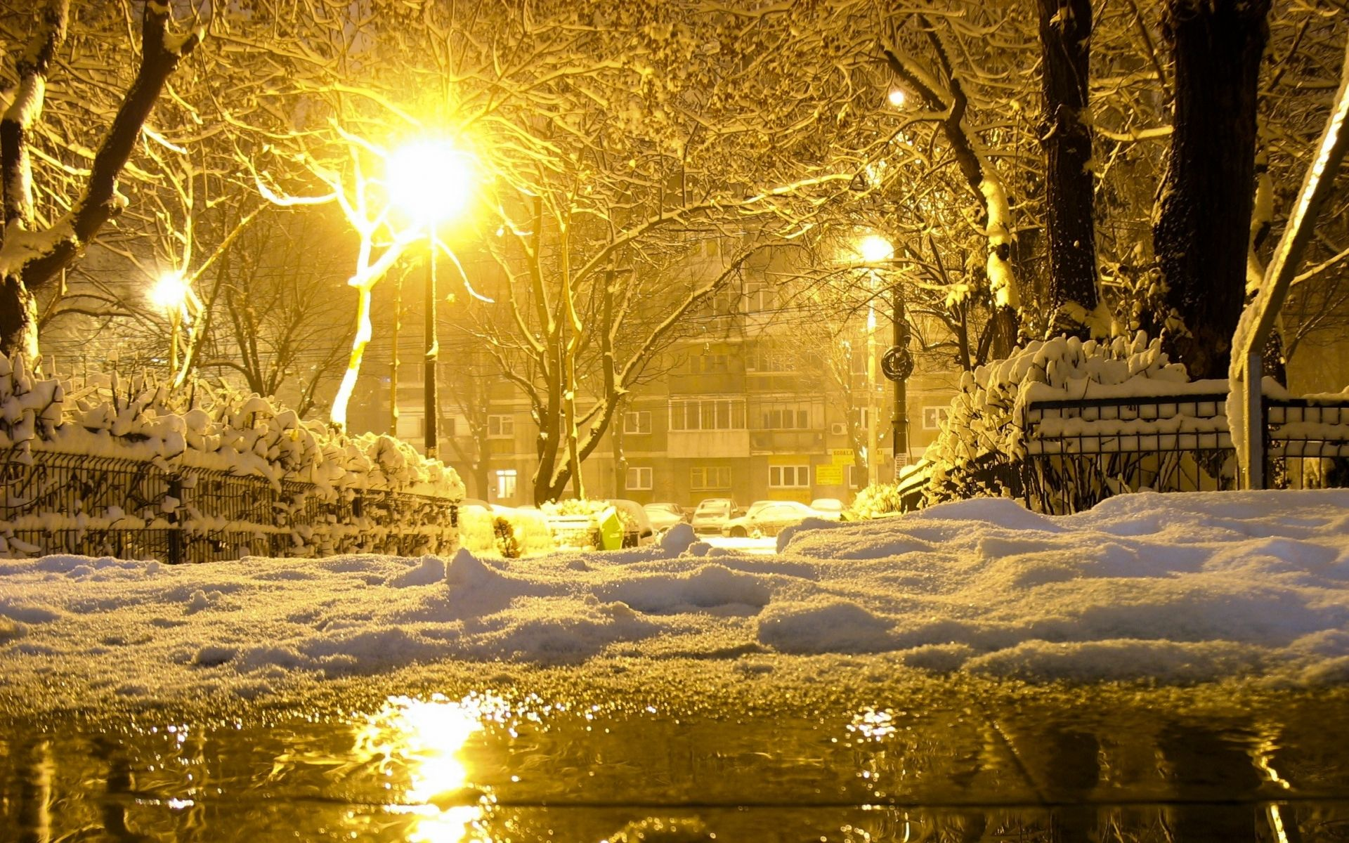 Photography winter season city town place building night light reflection snow wallpaper nice - Snow night city wallpaper ...