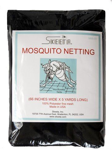 """Skeeta Mosquito Netting 66"""" Wide X 5 Yards - Black by Skeeta. $24.95. Made in USA. Durable fine mesh. Black color. 66"""" wide x 5 yards long. 100% polyester light weight netting material. CHEMICAL-FREE protection against mosquitoes, no-see-ums, gnats, ticks, black flies, sand flies, green heads, wasps, bees, ants, spiders and other harmful insects."""