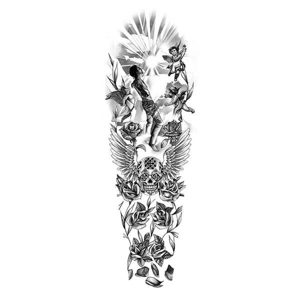 Angels and skulls tattoo drawing tatoo pinterest for Forearm tattoo sketches