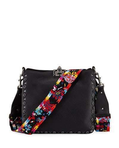 bf2817a93b Valentino Rockstud Rolling Noir Guitar Small Hobo Bag | Products ...