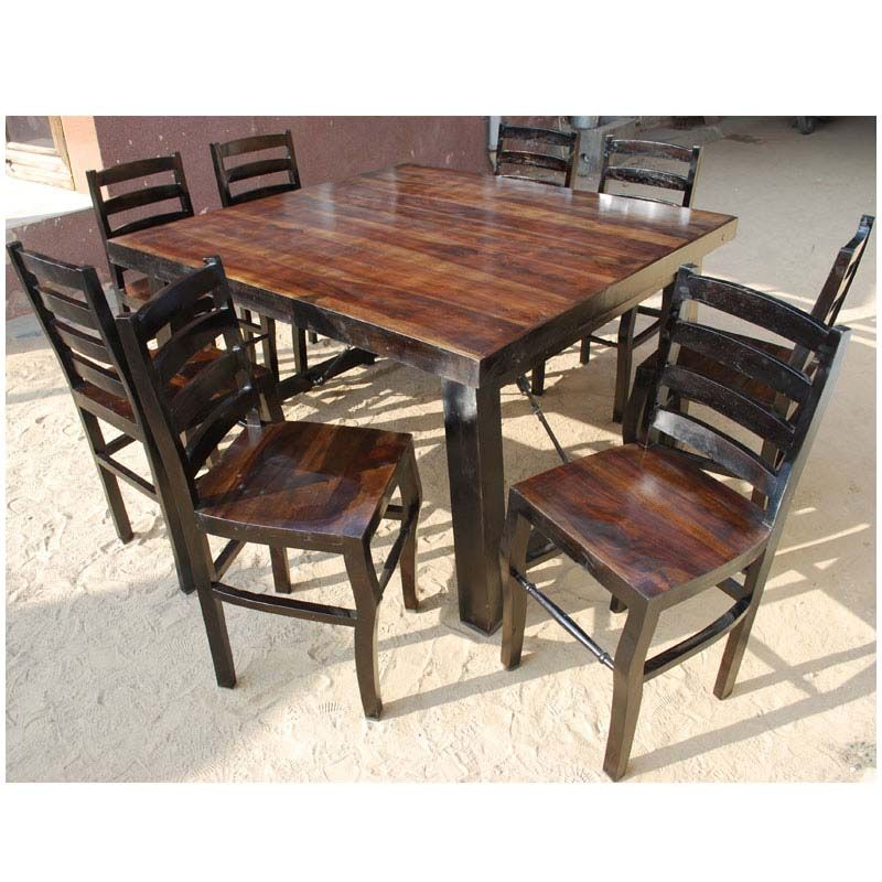 Rustic Counter Height Kansas City Square Dining Set For 8 People