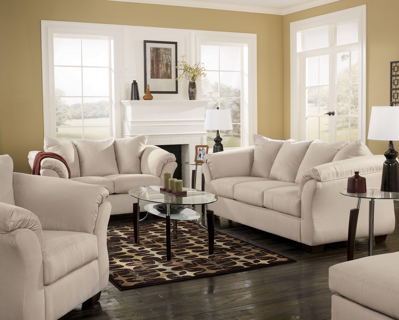 Darcy Stone Contemporary Fabric Wood Living Room Set Living
