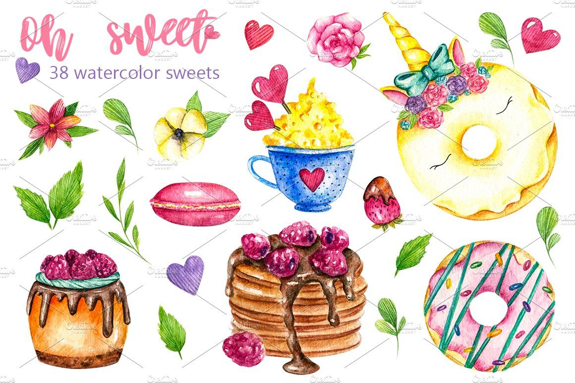 Sweets Desserts Watercolor Clipart Watercolor Clipart Gift Card