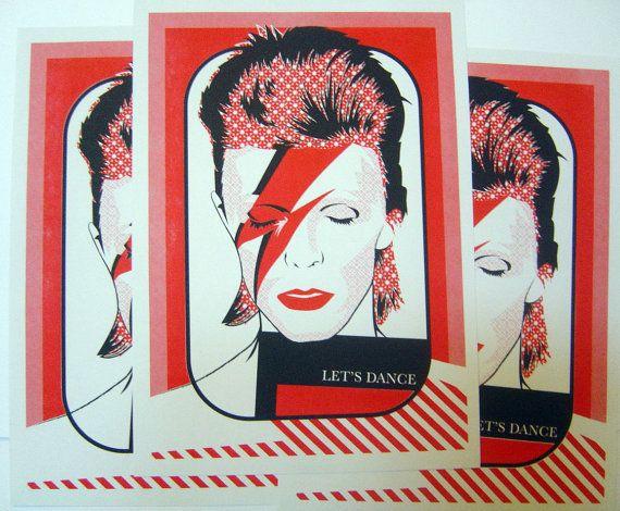 David Bowie Aladdin Sane 2 colour A4 risograph by PARISHCOUNCIL
