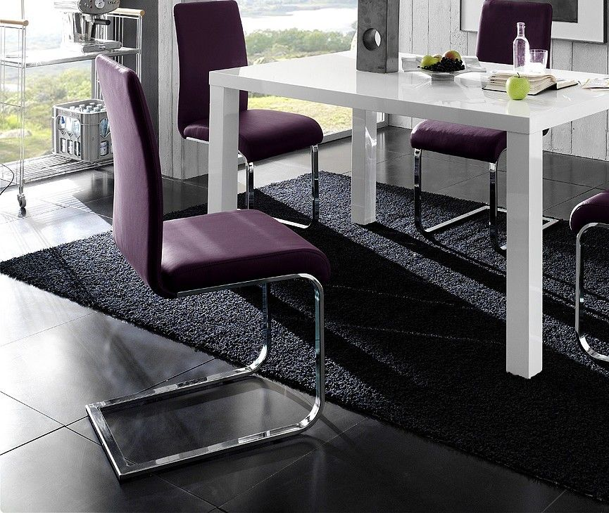 Chaise salle a manger violet for Chaise medaillon ikea