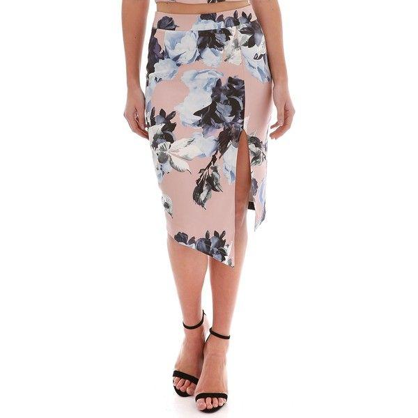 84c27efd1d4 Ally Fashion Navy Soft Floral Print Asymmetric Hem Midi Skirt ( 23) ❤ liked  on