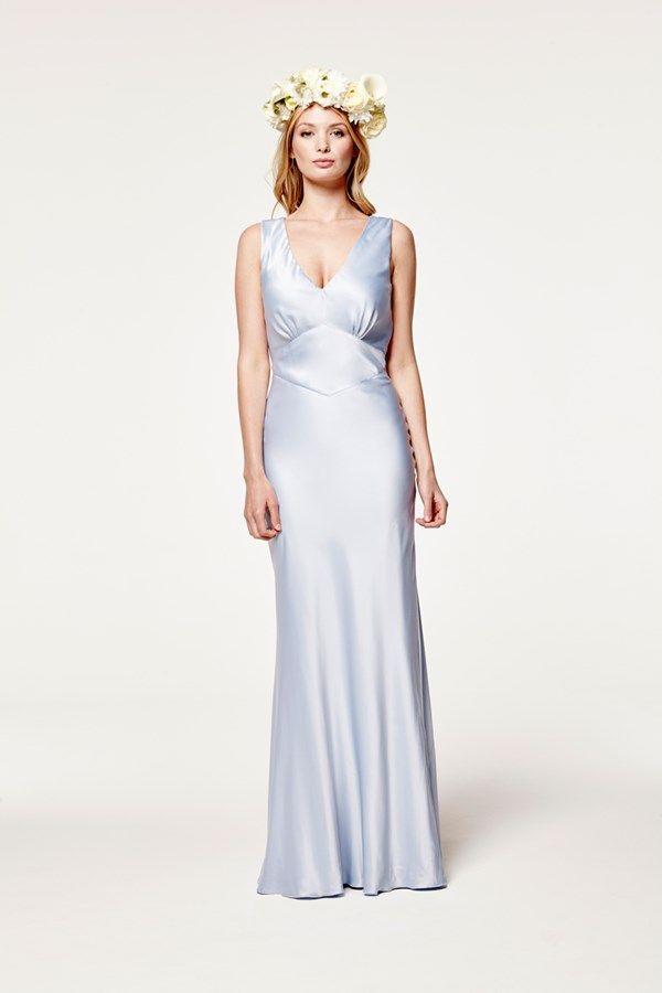 Blue Silk Bridesmaid Dress