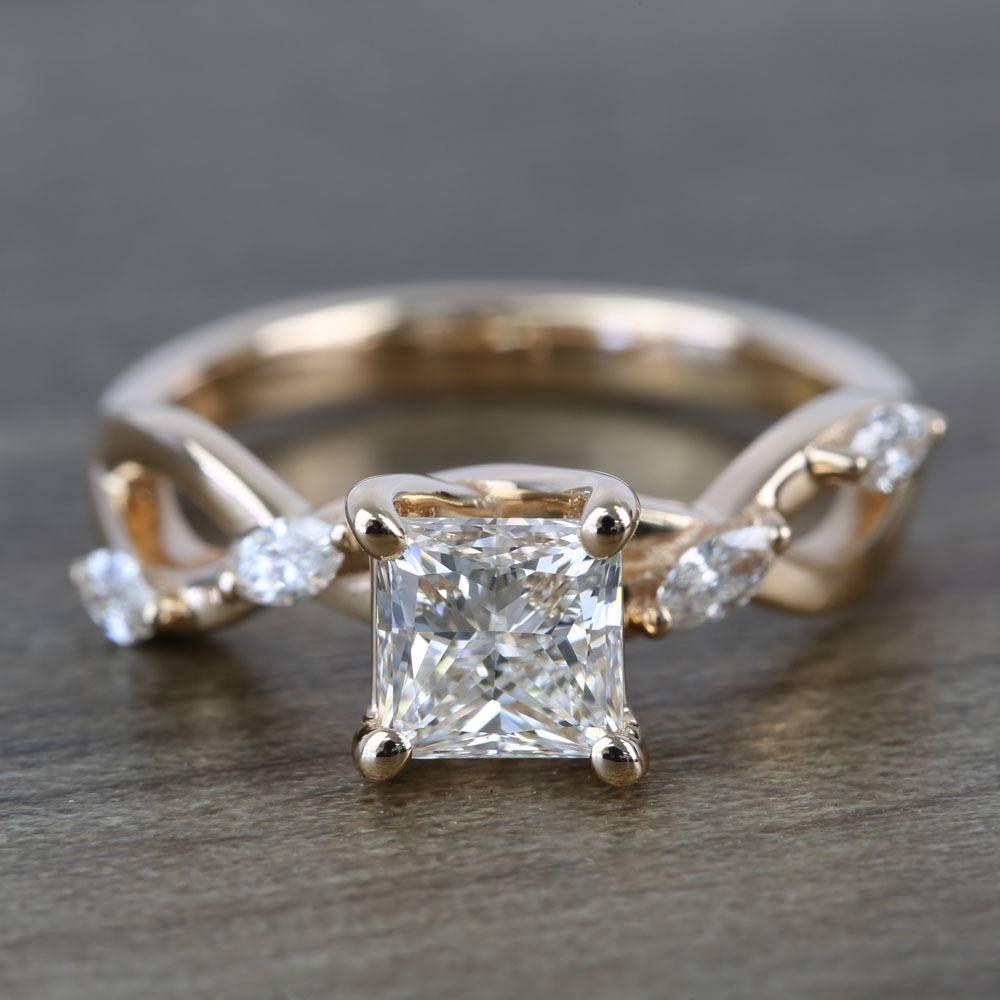 Near Flawless 1 Carat Princess Florida Ivy Diamond Engagement Ring Split Shank Diamond Engagement Ring Diamond Engagement Rings Engagement Rings