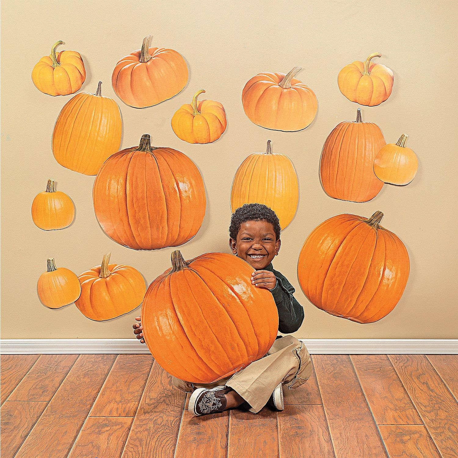 "These 50 Jumbo Pumpkin Classroom Cutouts are perfect for fall decorations. Use them to decorate at school, offices and other areas that need a fall feel! Our paper pumpkins come with real-life photography designs and 5 different sizes, 7 3/4"", 8"", 9 3/4"", 14"" and 17 3/8"". (10 pcs. per design, 50 pcs. per unit)© OTC"