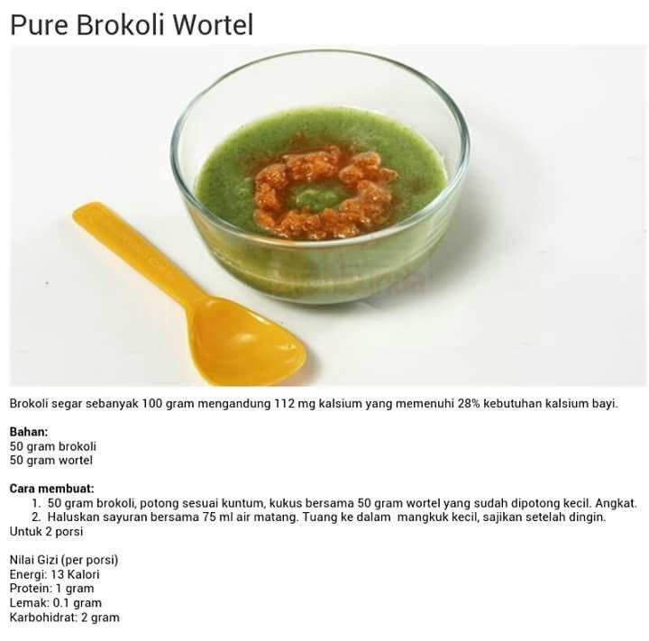 Pure Brokoli Wortel Resep Makanan Bayi Makanan Bayi Makanan