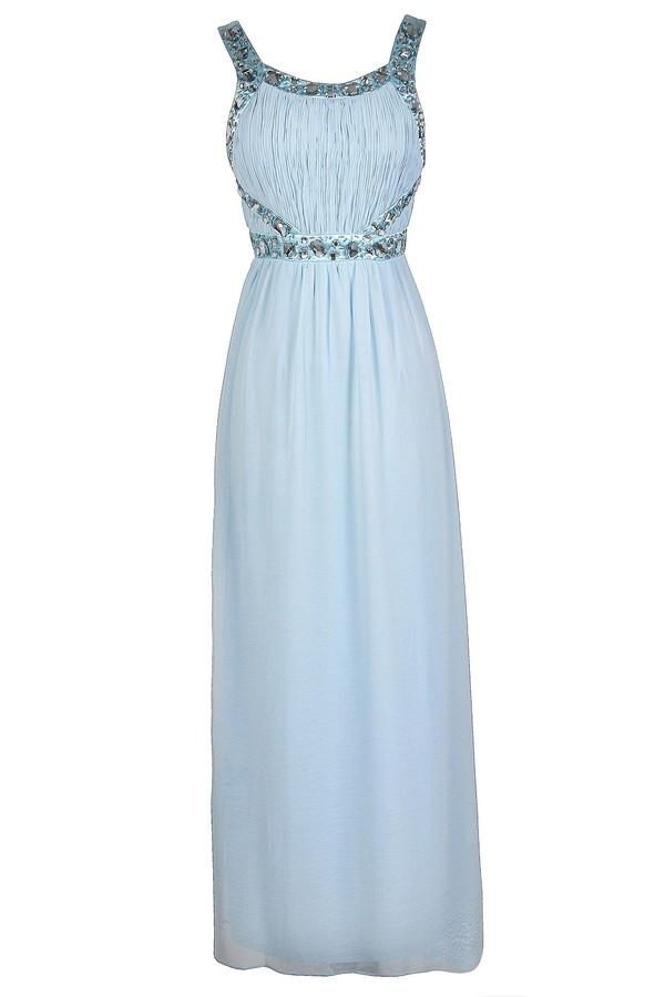 #Lily Boutique - #Lily Boutique You're A Gem Embellished Maxi Dress in Baby Blue - AdoreWe.com
