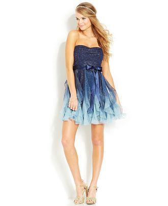 Teeze Me Juniors Glittered Ombre Dress Juniors Dresses Macys