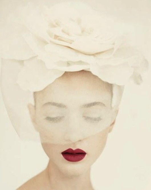love the red lips!   gorgeous rose veil. ..very chic for my European Vow Renewal..France or Italy