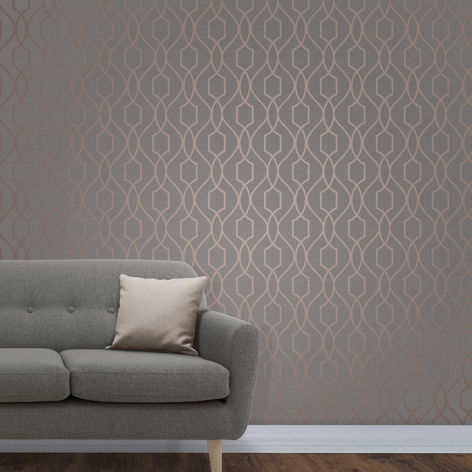 Fine Decor Apex Geometric Trellis Wallpaper Stone Grey Si