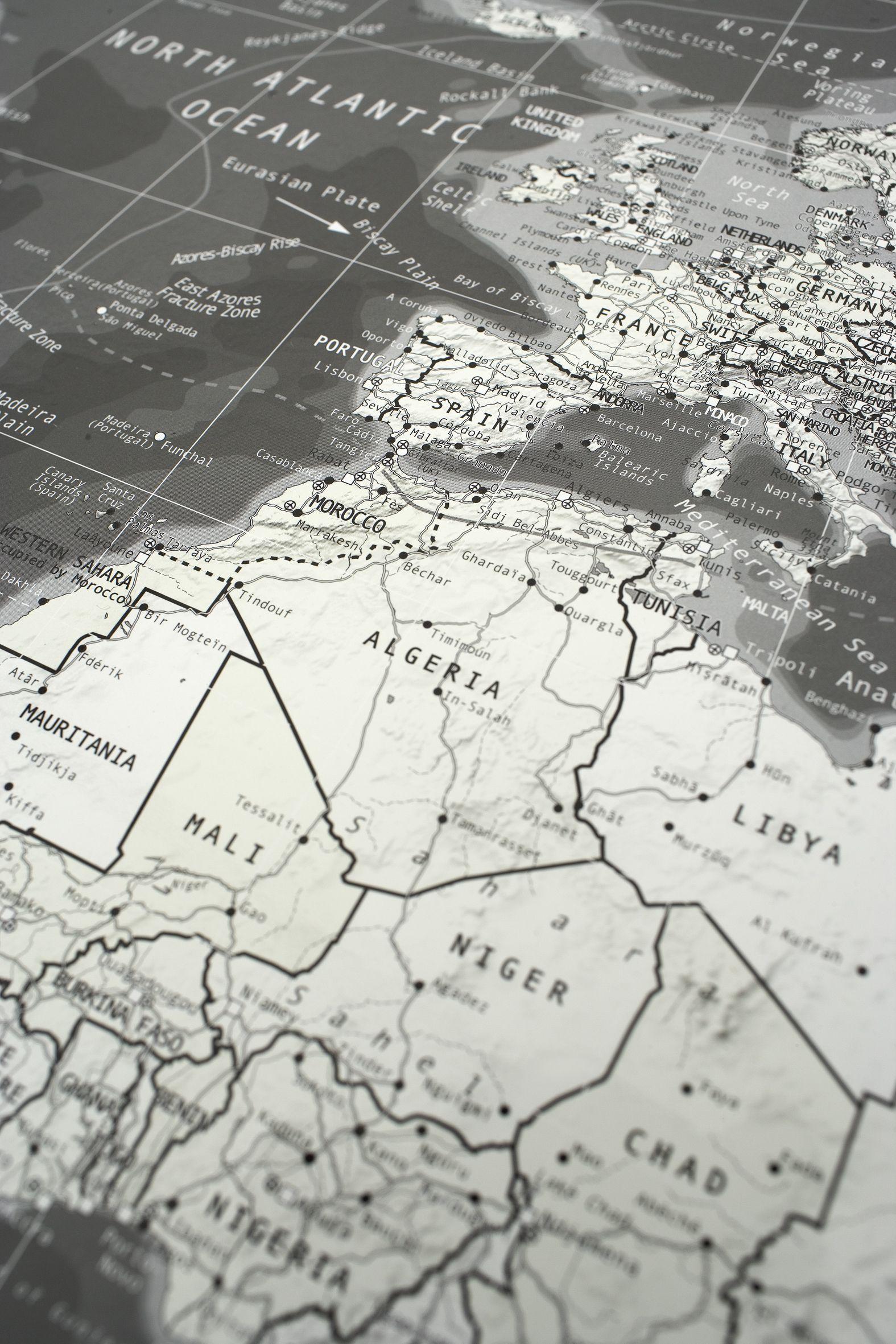 Design Weltkarte black / white - Detailansicht 1