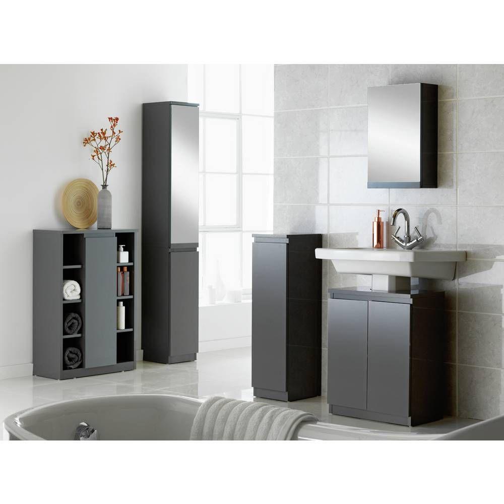 Buy Argos Home Gloss Undersink Storage Grey Bathroom Furniture Argos In 2020 Tall Bathroom Storage Grey Bathroom Furniture Bathroom Storage Cabinet