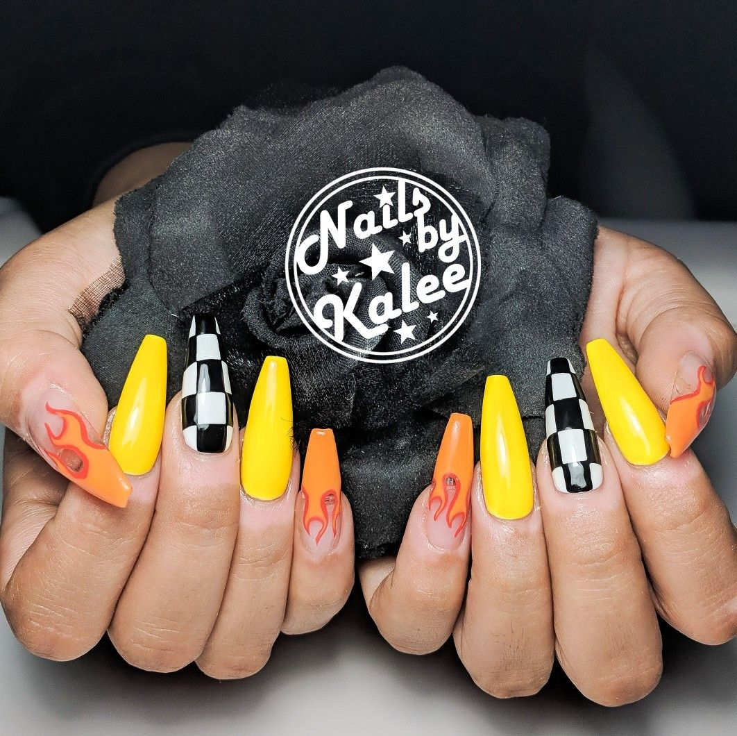 Race Car Racing Inspired Flame Nails With Checkerboards Hot Wheels Fire Nails Racing Nails Fire Nails Luxury Nails