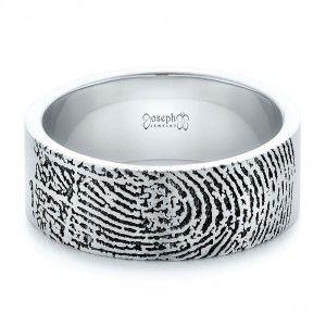 Custom Mens Engraved Fingerprint Wedding Band