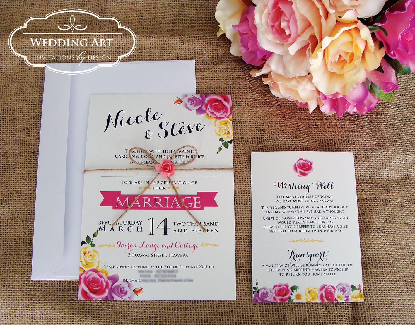 wedding invitation online purchase%0A Pretty vintage rose wedding invitation with twine and paper rose   www weddingart co