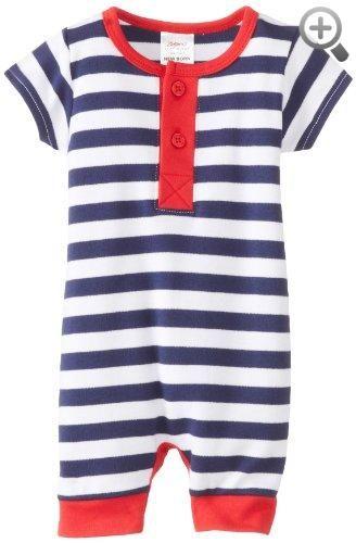 Zutano Baby-Boys Infant Primary Stripe Henley Bodysuit